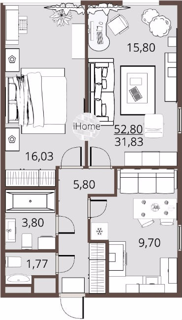 Готовая 2-к квартира 52м двухсторонняя ЖК iHome